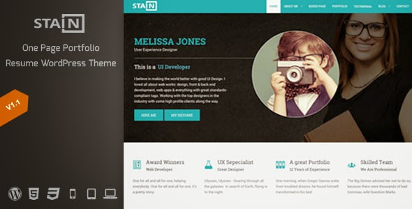 Stain One Page Portfolio Resume Wordpress Theme Themesdad